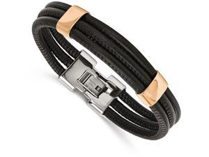 Chisel Stainless Steel Polished Rose Ip Blk Leather 8 Inch Bracelet