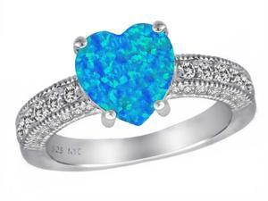Star K 8mm Heart Shape Simulated Blue Opal Ring in Sterling Silver Size 5