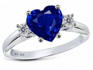 Star K 8mm Heart Shape Created Sapphire Ring in Sterling Silver Size 5.5