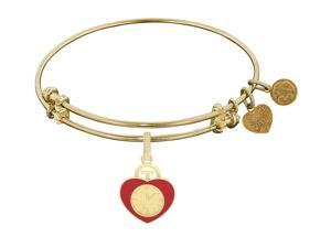 Angelica Collection Heart Badge Expandable Bangle in Brass