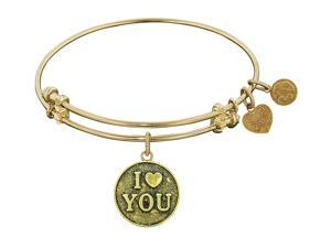 Angelica Collection Antique Yellow Stipple Finish Brass I Love You Expandable Bangle