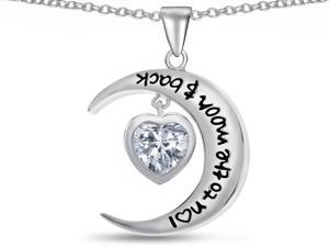 Star K I Love You To the Moon and Back White Topaz 7mm Heart Pendant in Sterling Silver