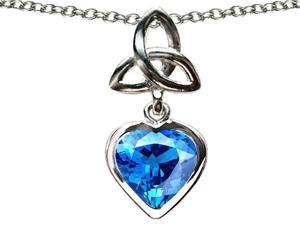 Celtic Love by Kelly Love Knot Pendant with Heart 9mm Simulated Blue Topaz in Sterling Silver