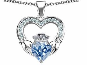 Celtic Love by Kelly Hands Holding 8mm Crown Heart Claddagh Pendant with Simulated Aquamarine in Sterling Silver