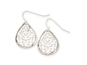 Sterling Silver Bright Cut Teardrop Dangle Earrings