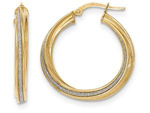 14k Polished Glitter Infused Twisted Large Round Hoop Earrings in 14 kt Yellow Gold
