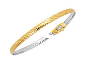 14kt Yellow and White Gold 7 Inch Diamond Cut Reversible Omega Bracelet with Box Catch in Two Tone Gold