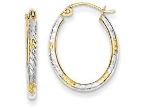 10k and Rhodium Bright Cut Patterned Oval Hoop Earrings in 10 kt Yellow Gold