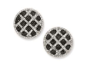 Sterling Silver Black and White Cubic Zirconia Round Omega Back Earrings