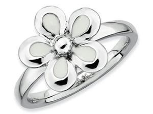 Stackable Expressions Sterling Silver Polished White Enameled Flower Stackable Ring Size 7