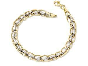 Finejewelers 14k Two-tone Polished Fancy Link Bracelet in 14 kt Two Tone Gold