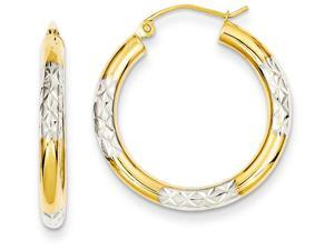 14k and Rhodium Bright-cut 3x25mm Hoop Earrings in 14 kt Yellow Gold
