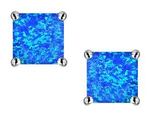 Star K Square Cut 7mm Simulated Blue Opal Earrings in Sterling Silver