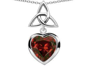 Star K Love Knot Pendant with Heart 9mm Simulated Garnet in Sterling Silver
