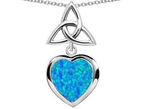 Star K Love Knot Pendant with Heart 9mm Blue Simulated Opal in Sterling Silver
