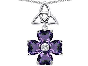 Star K Lucky Shamrock Celtic Knot Made with Heart 6mm Simulated Alexandrite in Sterling Silver