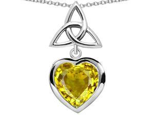 Star K Love Knot Pendant with Heart 9mm Simulated Citrine in Sterling Silver