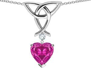 Star K Love Knot Pendant with 8mm Heart Shape Simulated Pink Tourmaline in Sterling Silver