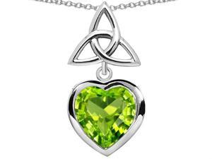 Star K Love Knot Pendant with Heart 9mm Simulated Peridot in Sterling Silver