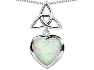 Star K Love Knot Pendant with Heart 9mm Simulated Opal in Sterling Silver