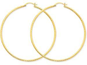 14k Bright-cut 2mm Round Tube Hoop Earrings in 14 kt Yellow Gold