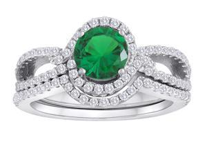 Star K Round Simulated Emerald Halo Wedding Set in Sterling Silver Size 6