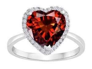 Star K Heart Shape Simulated Garnet Halo Ring in Sterling Silver Size 5