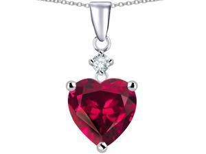 Star K Heart Shape 8mm Created Ruby Pendant Necklace in Sterling Silver