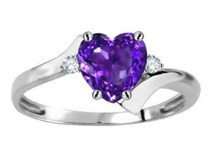 Tommaso Design(TM) Heart Shape 6mm Genuine Amethyst and Two Diamonds bypass Ring