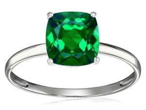 Tommaso Design(TM) Simulated Emerald 7mm Cushion Cut Solitaire Engagement Ring