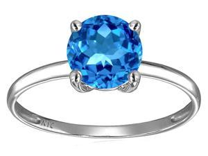 Star K 7mm Round Blue Topaz Solitaire Engagement Ring in 14 kt Yellow Gold Size 4