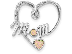 Finejewelers Sterling Silver Created Pink Opal and Cubic Zirconia Mom Pendant Necklace Chain Include