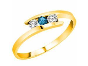 Ryan Jonathan Brillante Three Stone White and Blue Diamond Ring in 14K Yellow Gold (1/4 cttw)
