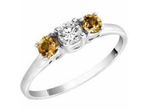 Ryan Jonathan Brillante Three Stone Diamond and Citrine Cocktail Ring in 14K White Gold