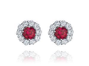 Ryan Jonathan Round Ruby and Diamond Earrings in Platinum (6.20 cttw)