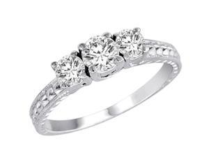Ryan Jonathan Three Stone Diamond Engagement Ring With Cobra Design Shank in 18K White Gold (9/10 cttw)