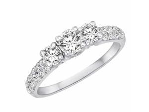 Ryan Jonathan Three Stone Diamond Engagement Ring With Double Row Shank in Platinum (1.18 cttw)