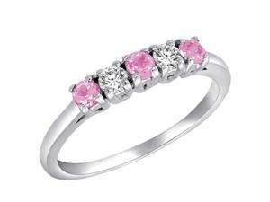 Ryan Jonathan 5 Stone Diamond and Pink Sapphire Band Ring in 18K White Gold
