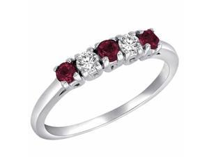 Ryan Jonathan 5 Stone Diamond and Ruby Band Ring in 18K White Gold