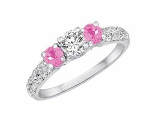 Ryan Jonathan Three Stone Diamond and Pink Sapphire Engagement Ring With Double Row Shank in 18K White Gold (1.15 cttw)