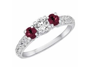 Ryan Jonathan Three Stone Diamond and Ruby Engagement Ring With Double Row Shank in 14K White Gold (1.15 cttw)