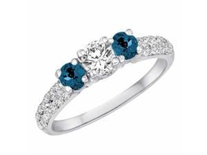 Ryan Jonathan Three Stone White and Blue Diamond Engagement Ring With Double Row Shank in 18K White Gold (1 cttw)