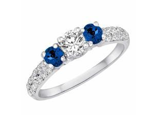 Ryan Jonathan Three Stone Diamond and Blue Sapphire Engagement Ring With Double Row Shank in 14K White Gold (1.15 cttw)