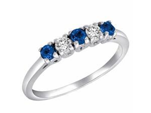 Ryan Jonathan 5 Stone Diamond and Blue Sapphire Band Ring in 14K White Gold