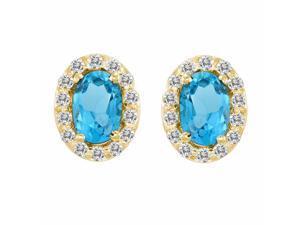 Ryan Jonathan Blue Topaz and Diamond Earrings in 14K Yellow Gold