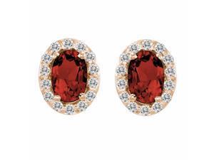 Ryan Jonathan Garnet and Diamond Earrings in 14K Rose Gold