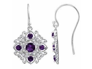 Ryan Jonathan Antique Style Amethyst and Diamond Dangle Earrings in Sterling Silver
