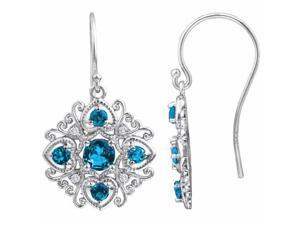 Ryan Jonathan Antique Style Blue Topaz and Diamond Dangle Earrings in Sterling Silver