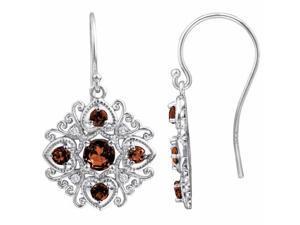 Ryan Jonathan Antique Style Garnet and Diamond Dangle Earrings in Sterling Silver