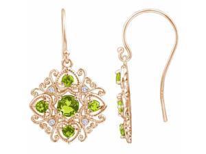 Ryan Jonathan Antique Style Peridot and Diamond Dangle Earrings in 14K Rose Gold